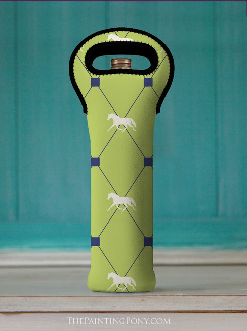 Trotting Horse Argyle Pattern Wine Tote