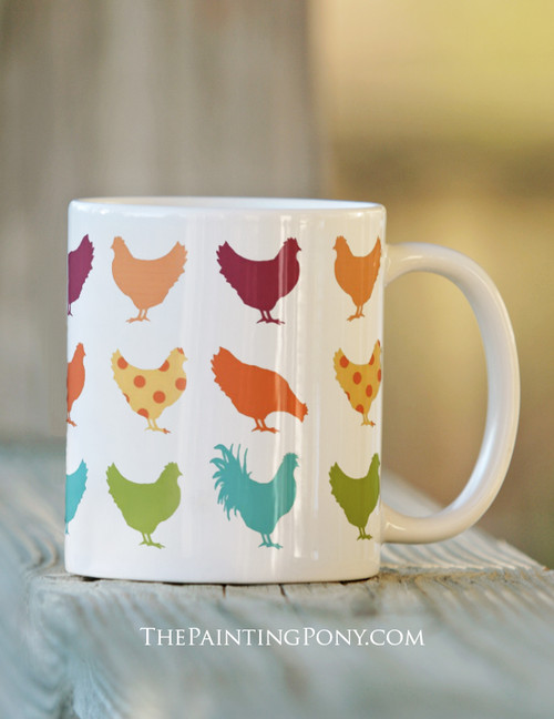 fun chicken patterned mug