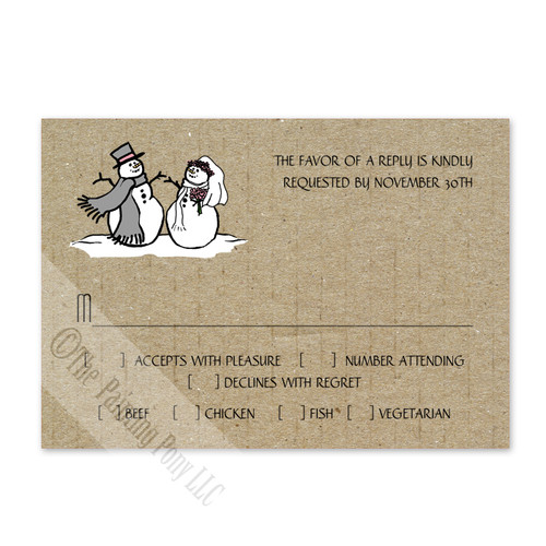 Snowman and Bride Christmas Wedding RSVP card (10 pk)