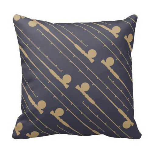 Fly Fishing Themed Throw Pillow