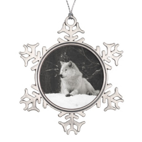 Snow Wolf Holiday Ornament