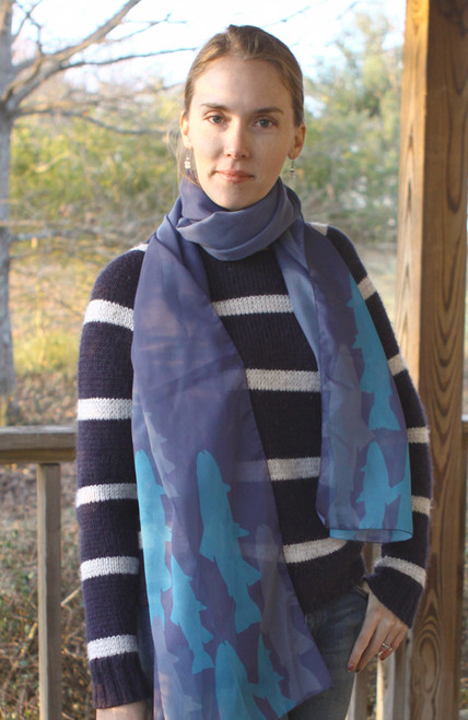 Blue Trout Fish Patterned Chiffon Scarf