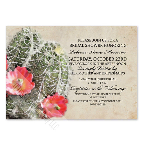 Cactus Flowers Southwestern Wedding Invitation