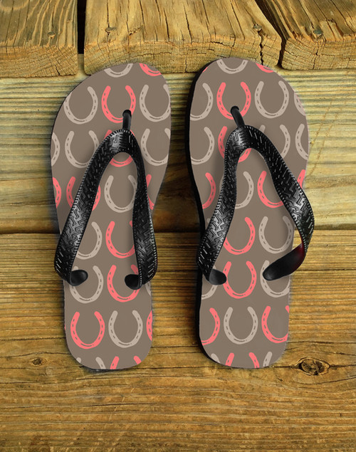 Coral and Beige Horse Shoes patterned country flip flops