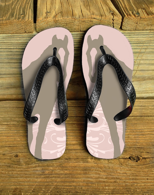Pink and Brown pretty pony flip flops