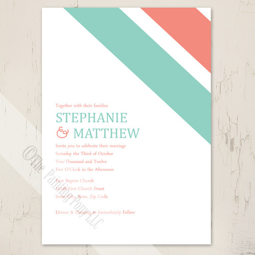 Coral Pink and Mint Green Modern Corner Stripes Wedding Invitations