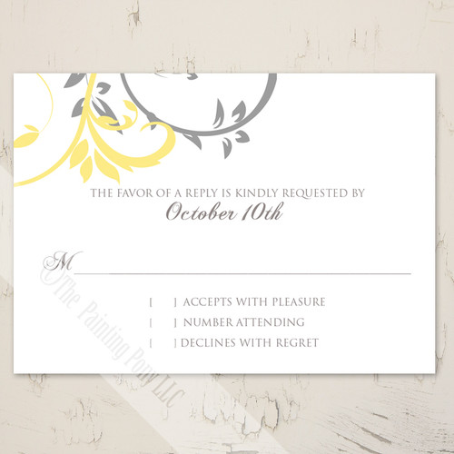 Yellow and grey wedding rsvp card