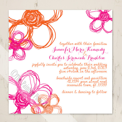 Hot Pink and Orange Wild Flowers Wedding Invitation