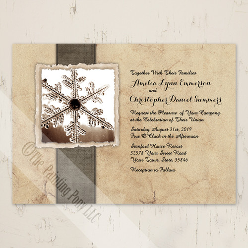 Rustic Vintage Winter Snowflake Wedding Invitations for Christmas events.