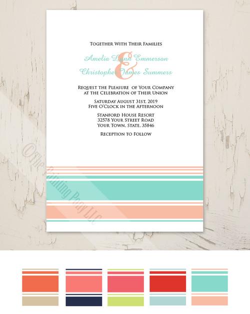 Modern Stripes Mint and Peach Wedding Invitation