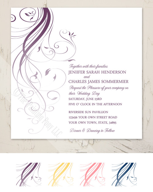 Purple Ombre Flourish Wedding Invitation