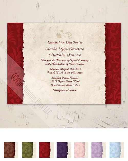 Red Vintage Country Wedding Invitation
