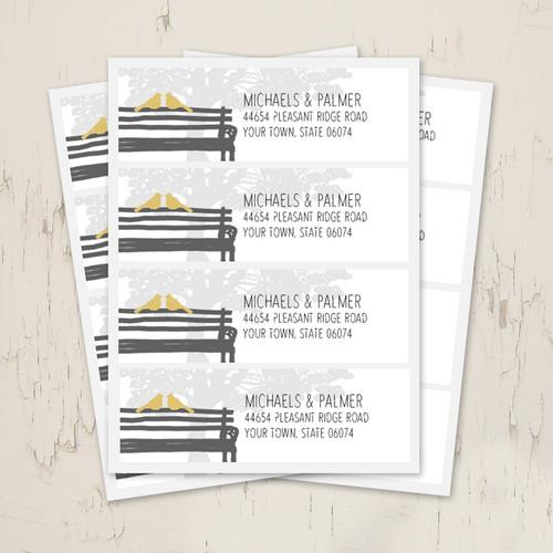 Wedding Doves Park Bench Return Address Labels