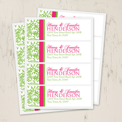 pink and green damask wedding return address labels