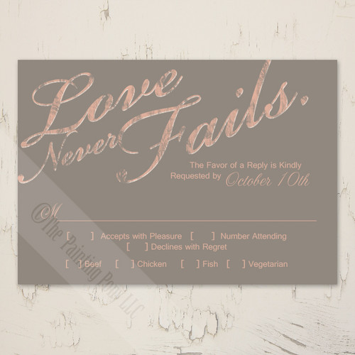 Love Never Fails Wedding RSVP card (10 pk)