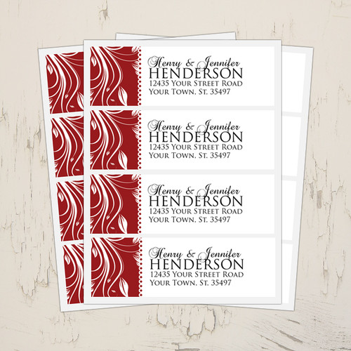 red and white wedding return address labels