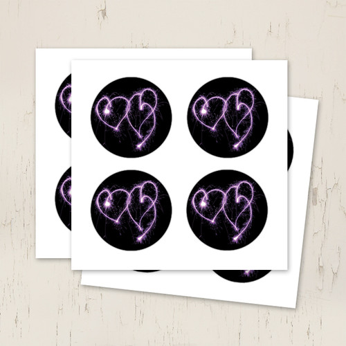 purple hearts wedding stickers