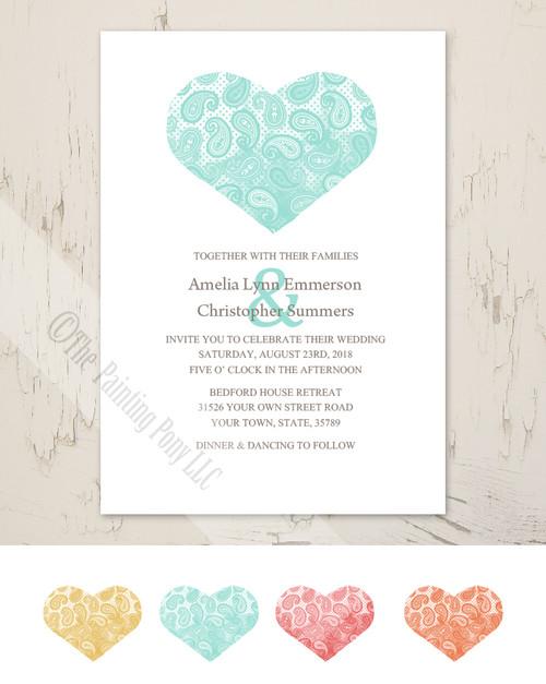 Paisley Heart Wedding Invitation (10 pk)