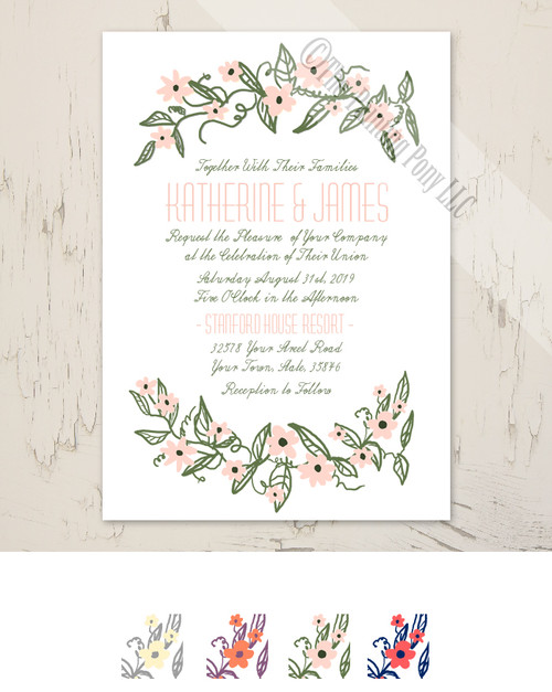 Floral Banner Wedding Invitation (10 pk)