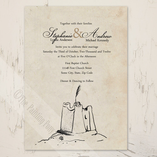 Rustic Sandcastle beach wedding invitation