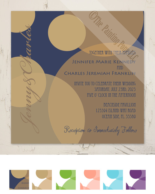 Gold and White Bubbles Wedding Invitation (25pk)