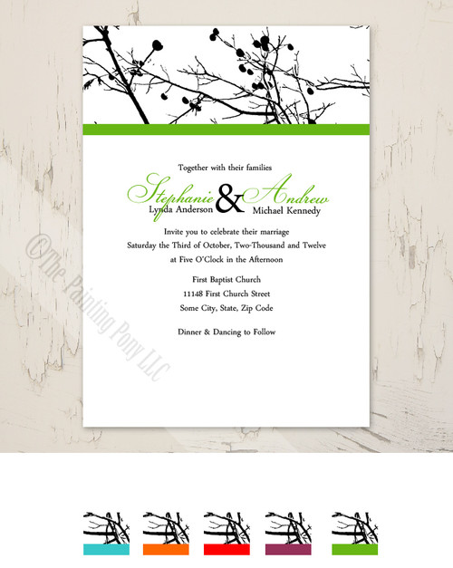 Winter Tree Branches Wedding Invitation
