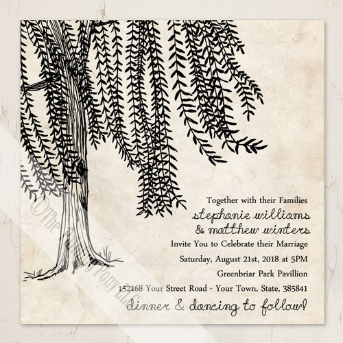 Whimsical Vintage Willow Tree Wedding Invitation