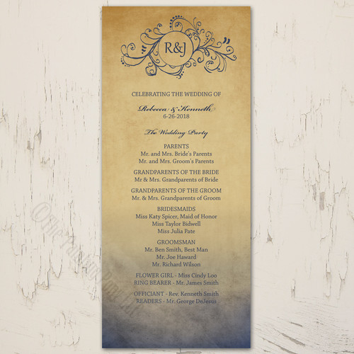 Navy and Gold Rustic Bohemian Wedding Program