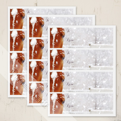 Winter Horse Christmas Gift Tag Stickers Set