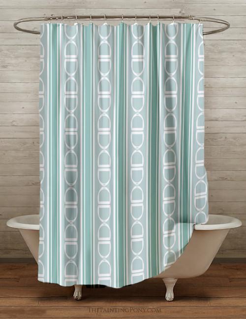 Stirrup Pattern Equestrian Shower Curtain
