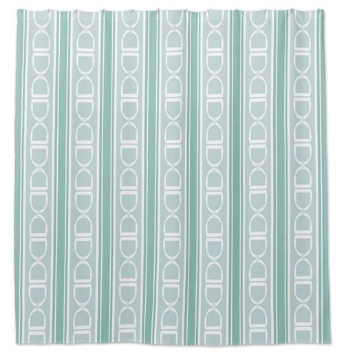 English Stirrups Striped Pattern Equestrian Shower Curtain