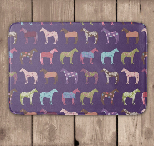 Fun Horse Pattern purple Bath Mat
