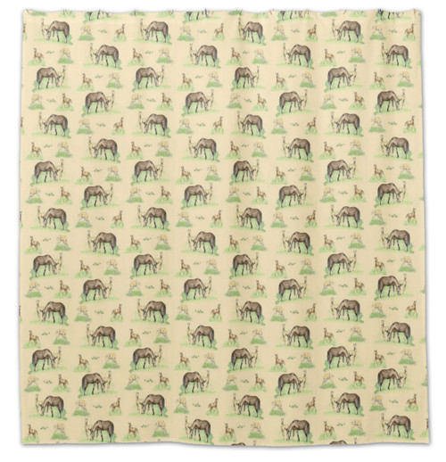 Yellow Horses and Foal Shower Curtain