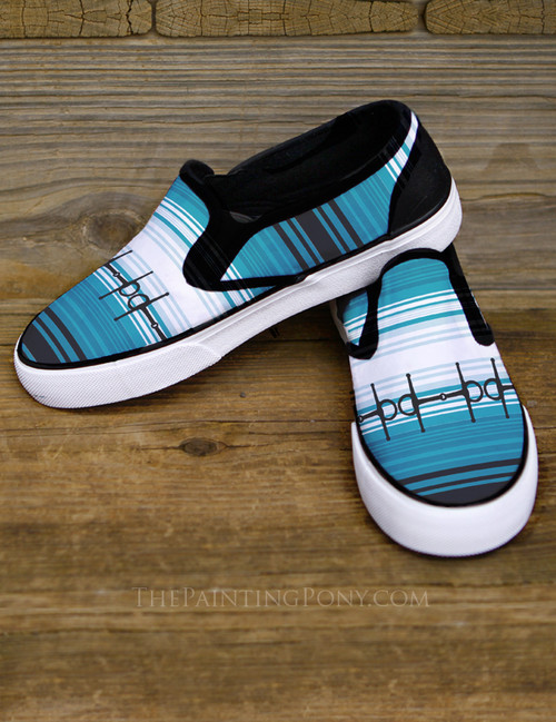 Blue Horse Bits Serape Pattern Equestrian Slip on Shoes
