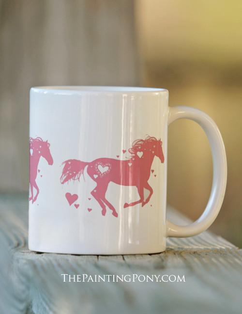 Heart Horse Valentines Day Equestrian mug