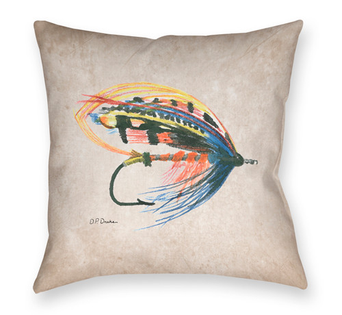 Fly Fishing Themed Throw Pillow with a wet salmon fly lure.