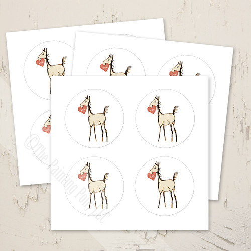 sweet horse foal equestrian valentine's day stickers