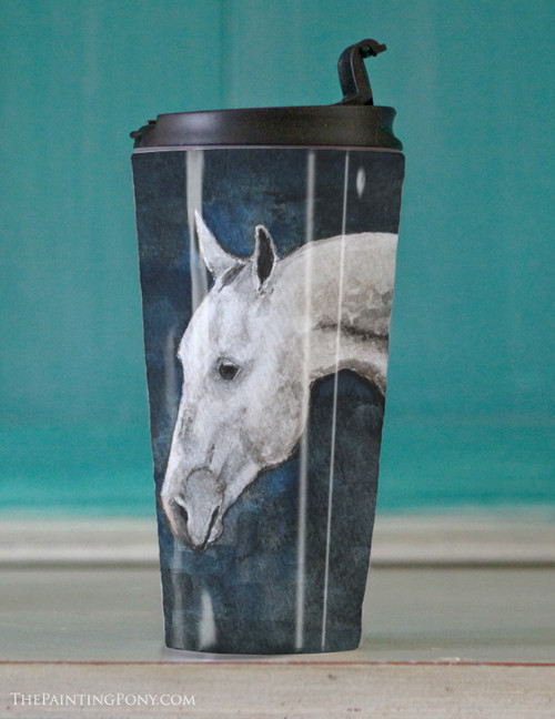 Dappled Gray Horse Travel Tumbler 15oz