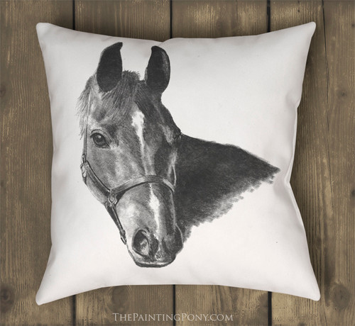 Arabian Horse Head Drawing Equestrian Throw Pillow
