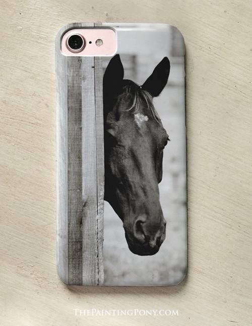 Curious Black Horse Equestrian Phone Case