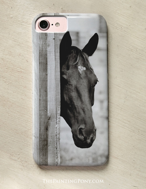 Curious Black Horse Equestrian Phone Case