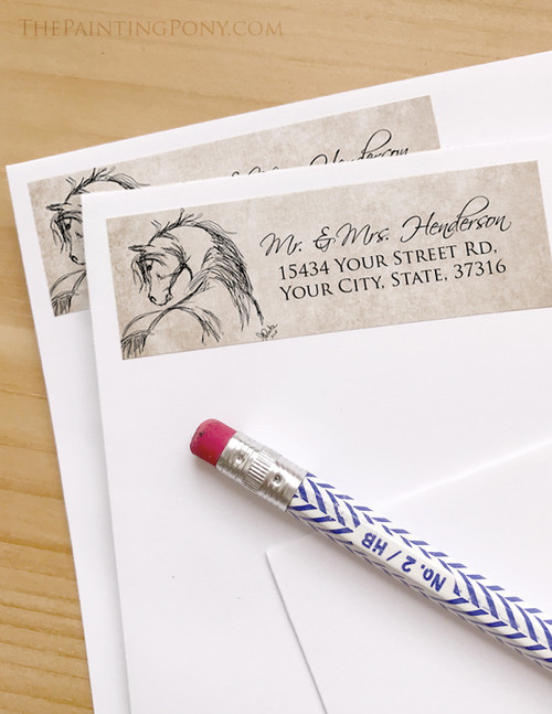 Rustic Horse Head Sketch Return Address Labels