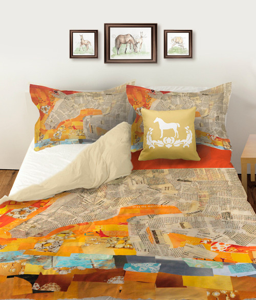 Jumping Horse Collage Equestrian Duvet Bedding Cover Set with matching pillow shams.