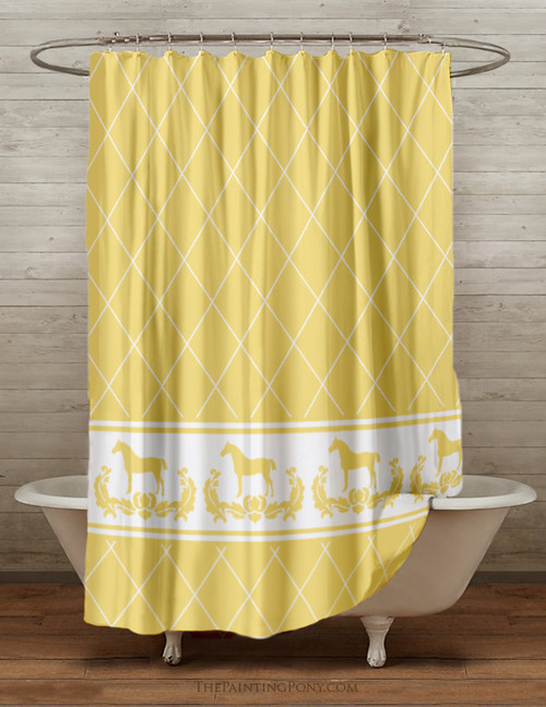 Yellow Damask Horse Equestrian Themed Shower Curtain