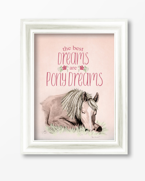 Pony Dreams Equestrian Typography Print for a little girl's horsey bedroom decor.