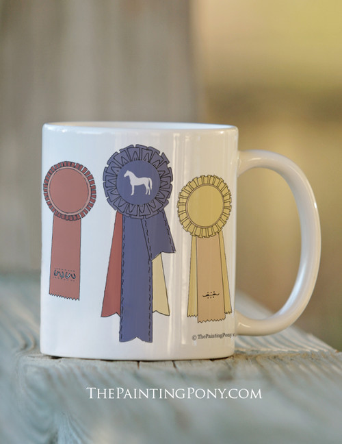 Horse Show Ribbon Awards 11oz ceramic mug for horse lover equestrians.