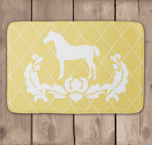Yellow and White Damask Horse Equestrian Bath Floor Mat