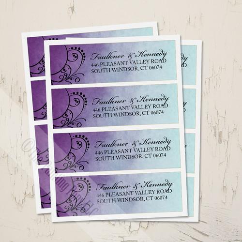 Purple and Teal Artsy Bohemian Wedding return address labels.