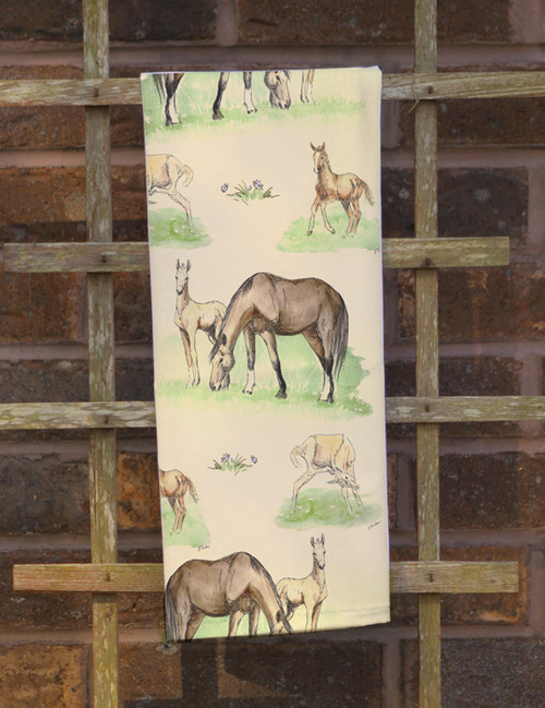Mare and Foals Equestrian Dishtowel