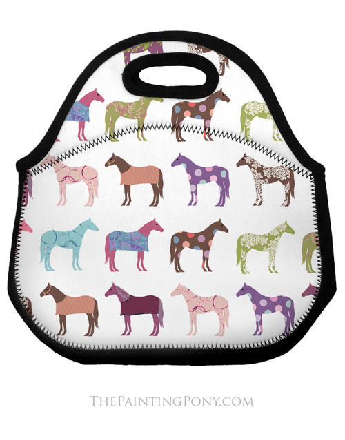 Fun Horse Pattern Equestrian Lunch Bag